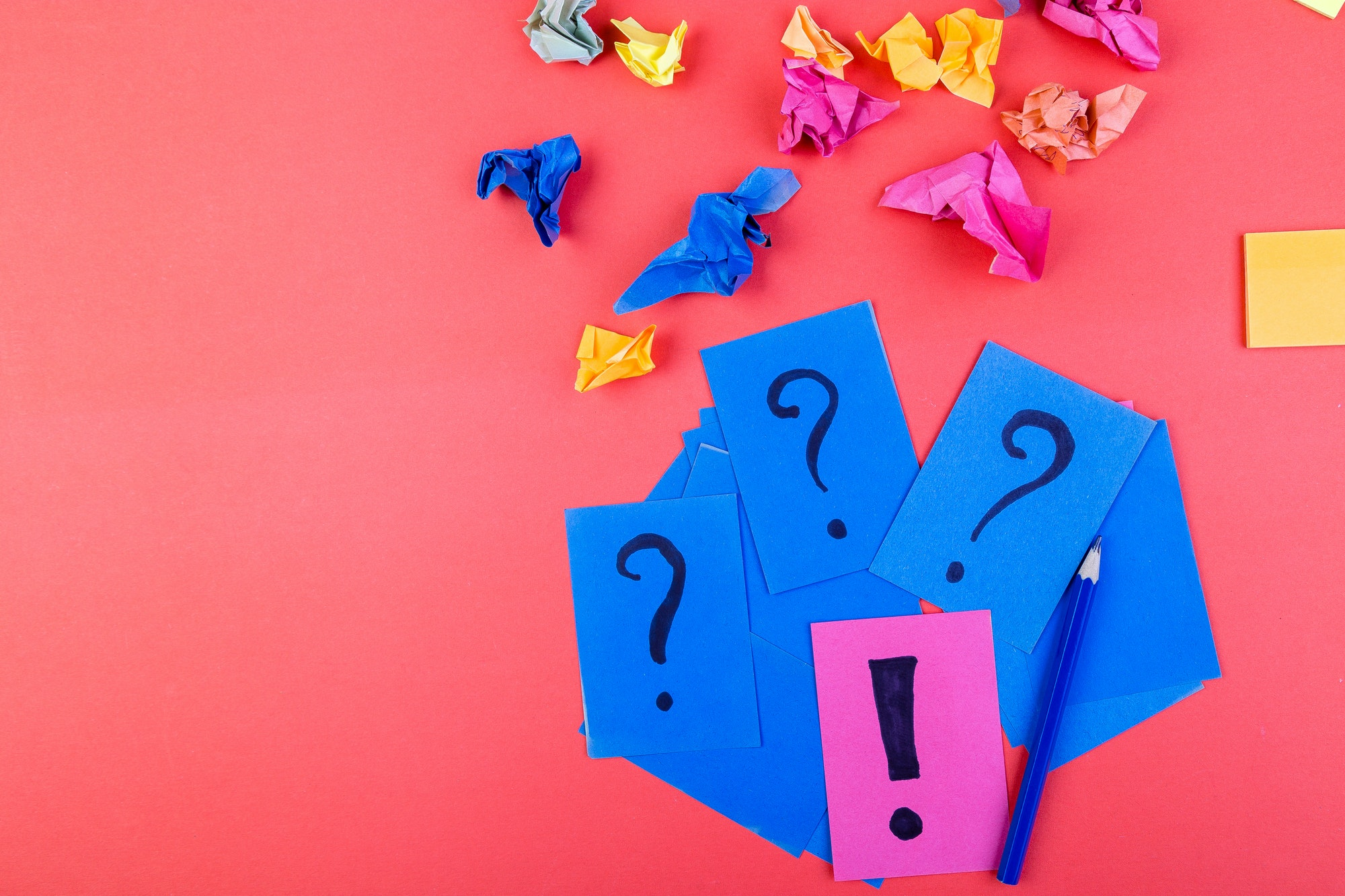Concept in search ideas. Creased paper of idea. Falt lay
