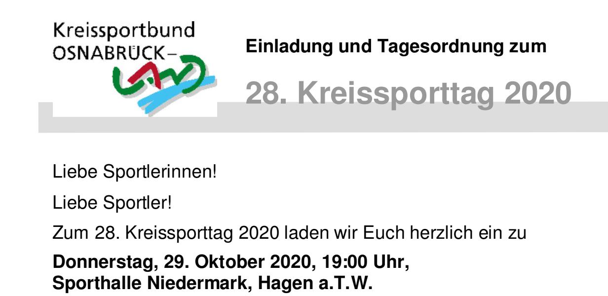 Einladung zum 28. Kreissporttag 2020